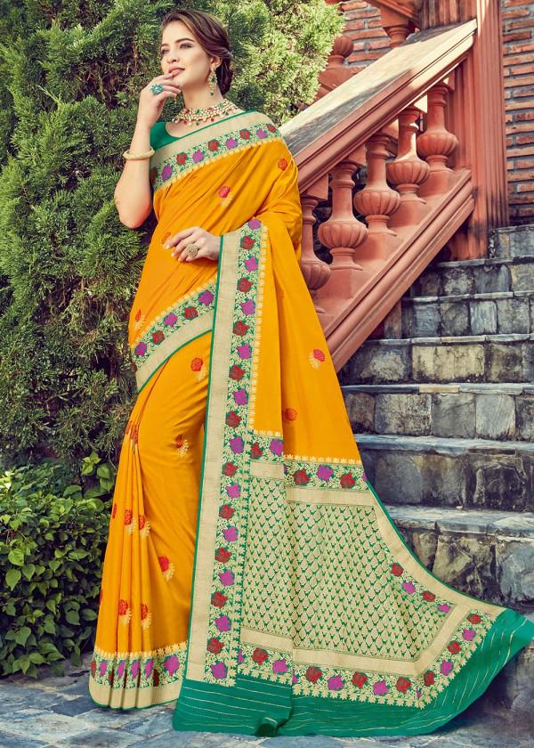 Yellow Dola Silk Indian Saree Online USA