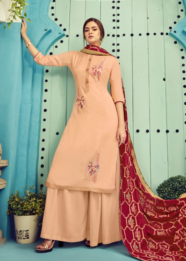 Buy Peach Embroidered Cotton Palazzo Suit Online USA