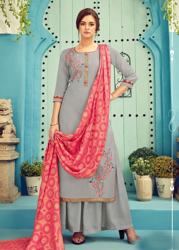 Grey Embroidered Cotton Indian Palazzo Suit Online USA