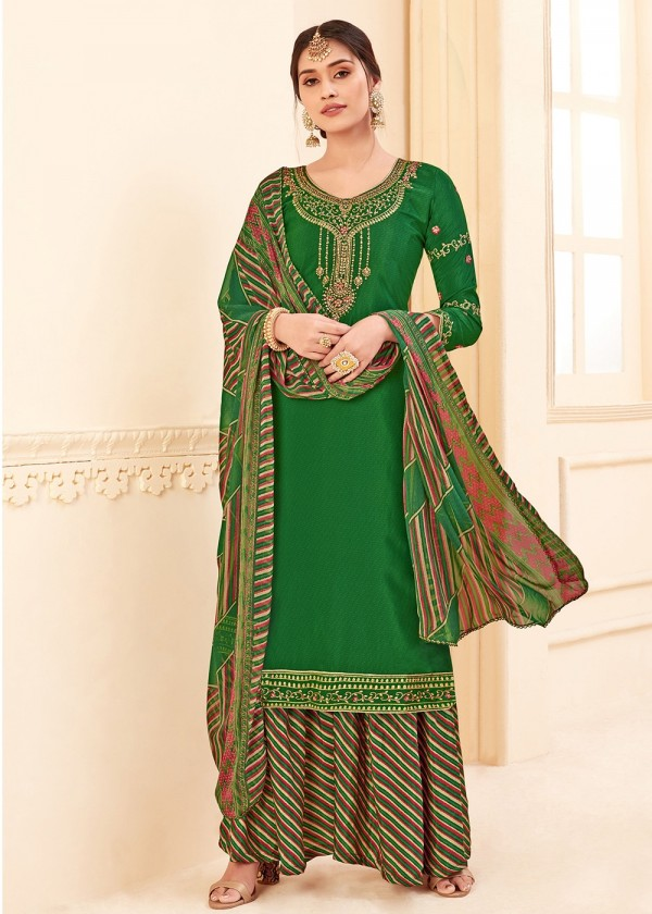 Buy Green Straight Cut Embroidered Palazzo Suits online USA