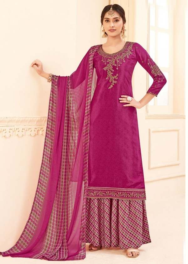 Pink Straight Cut Embroidered Designer Palazzo Suit Online