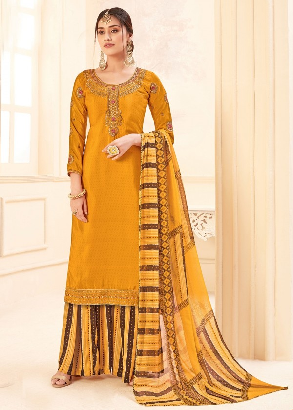Yellow Embroidered Straight Cut Salwar Suit USA
