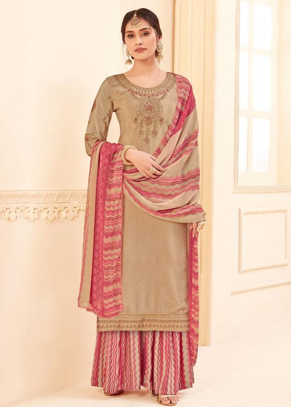 Beige Embroidered Straight Cut Salwar Kameez USA