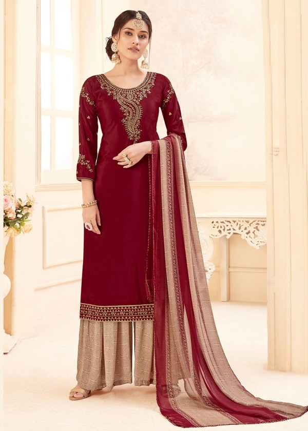 Maroon Embroidered Straight Cut Salwar kameez USA