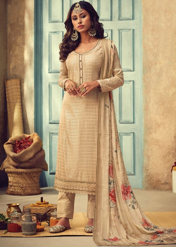 Beige Embroidered Bell Sleeved Designer Pant Pant Style Salwar Suits USA