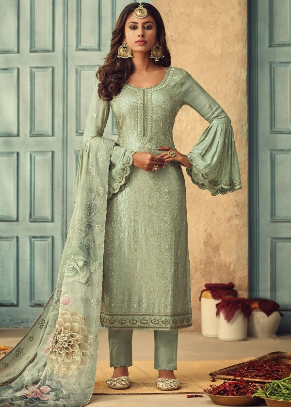 Green Embroidered Bell Sleeved Pant Style Salwar Suit Online