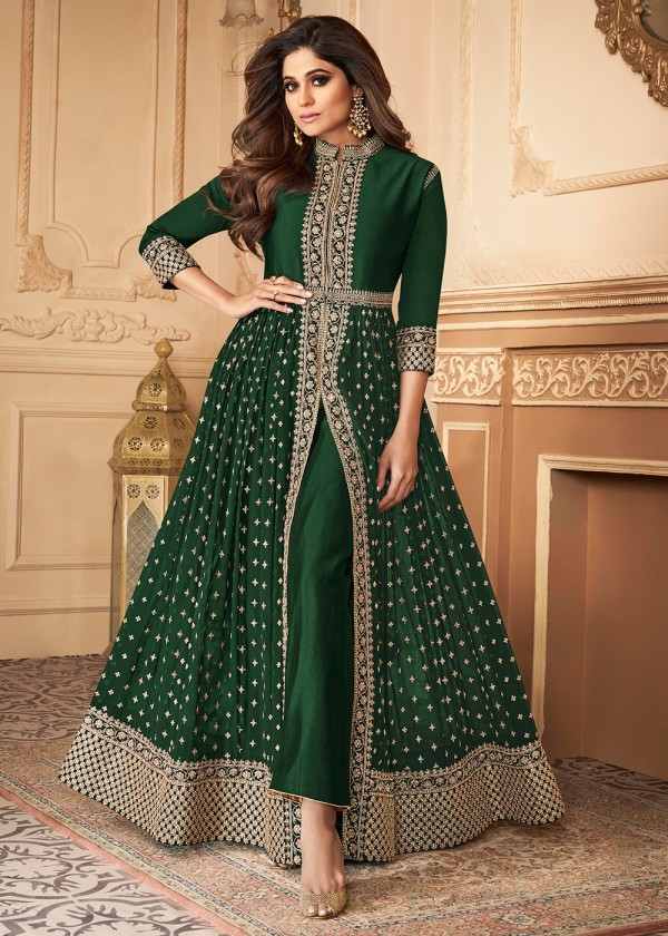 Shop Green Embroidered Pant Style Salwar Suits Online USA