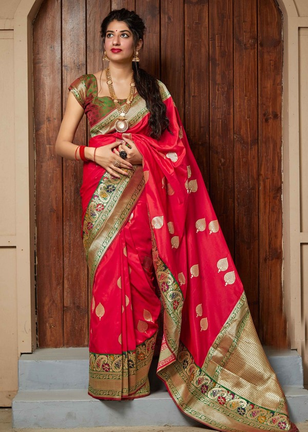 Buy Red Woven Art Silk Indian Sarees Online USA