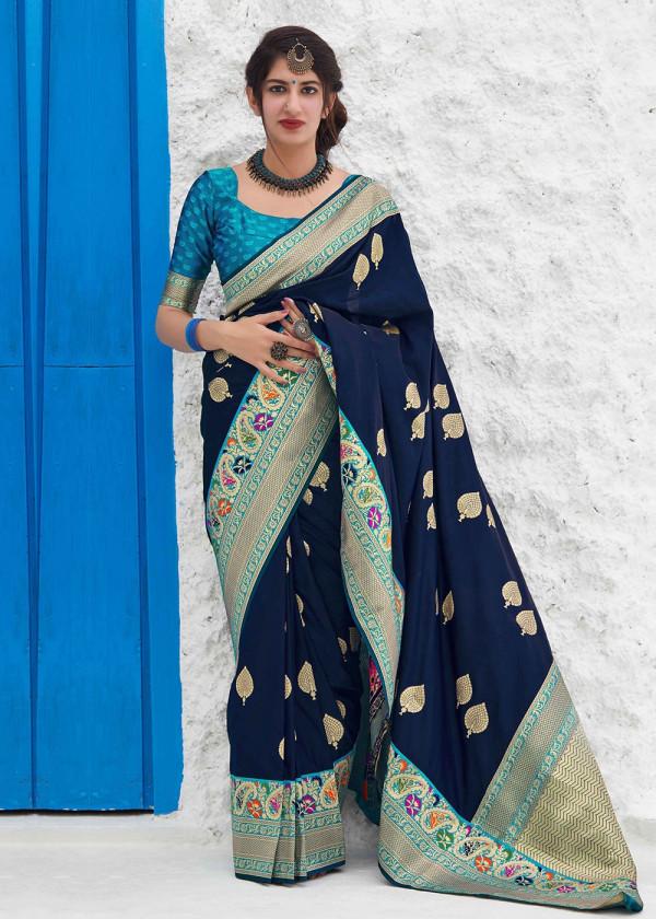 Buy Navy Blue Woven Art Silk Sarees Online USA