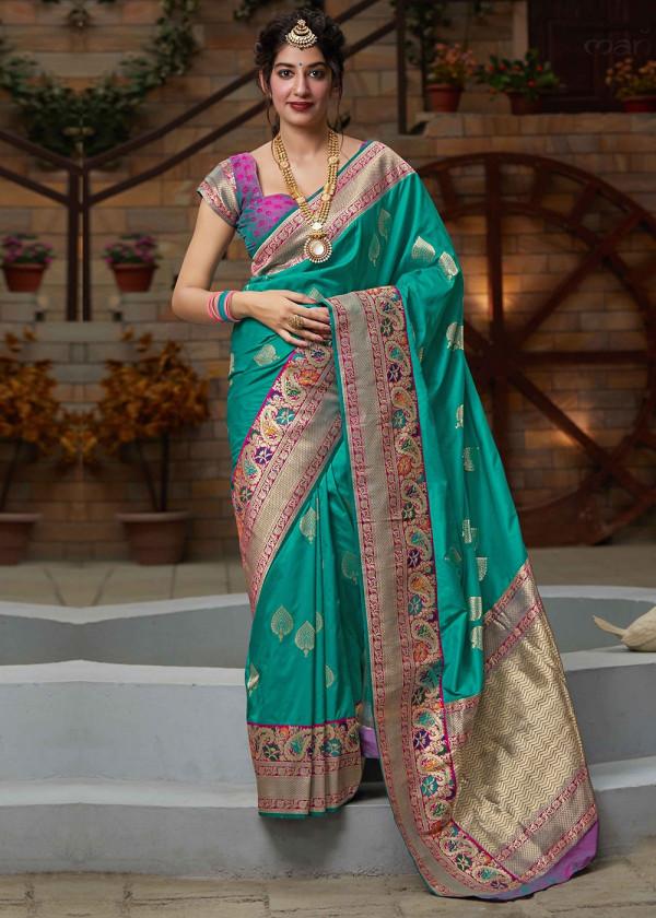 Green Woven Art Silk Modern Saree USA