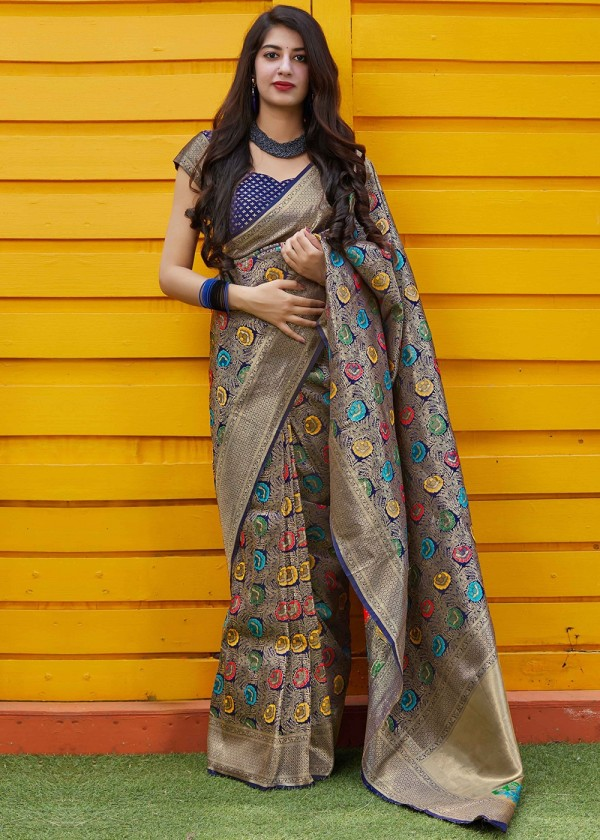 Navy Blue Woven Art Silk Modern Saree Online