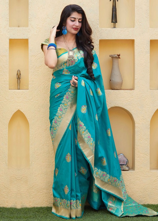 Sky Blue Art Silk  Woven Indian Saree Online USA