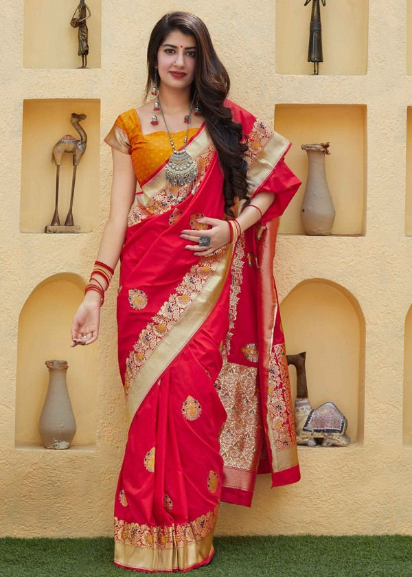 Red Woven Art Silk Indian Sarees Online Shopping