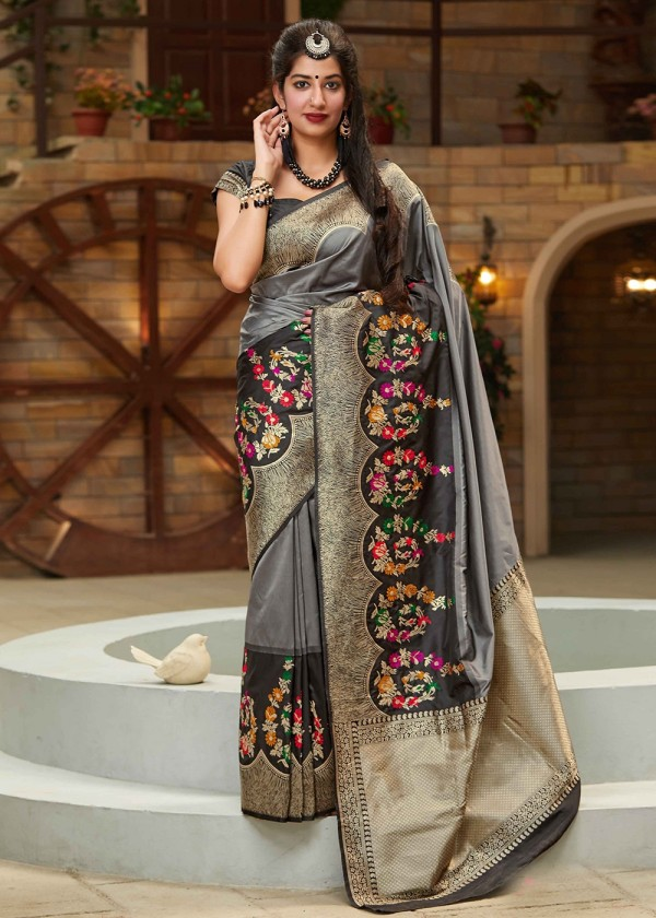 Buy Grey Woven Art Silk Indian Sarees Oline USA With Blouse