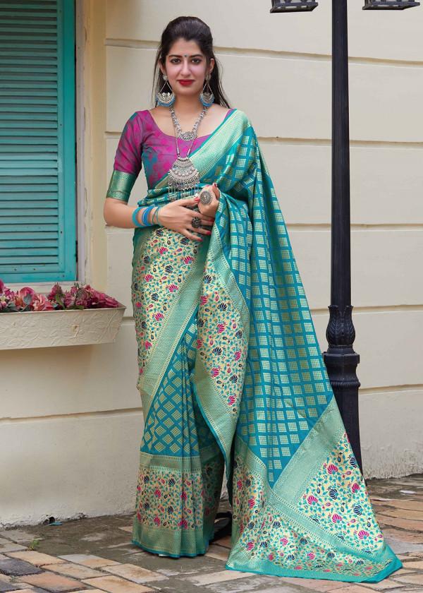 Turquoise Woven Art Silk Sarees Online Shopping USA