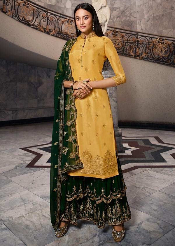 Yellow Jacquard Silk Embroidered Pakistani Salwar Suit Online USA