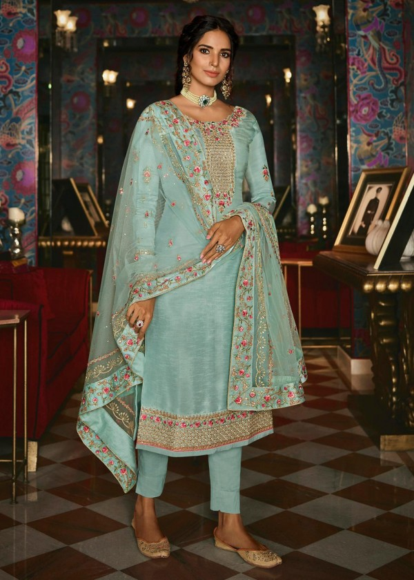 Buy Blue Embroidered Pant Style Salwar Suit Online USA