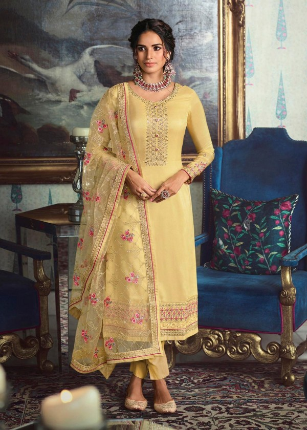 Yellow Embroidered Pant Salwar Suits Online Shopping USA