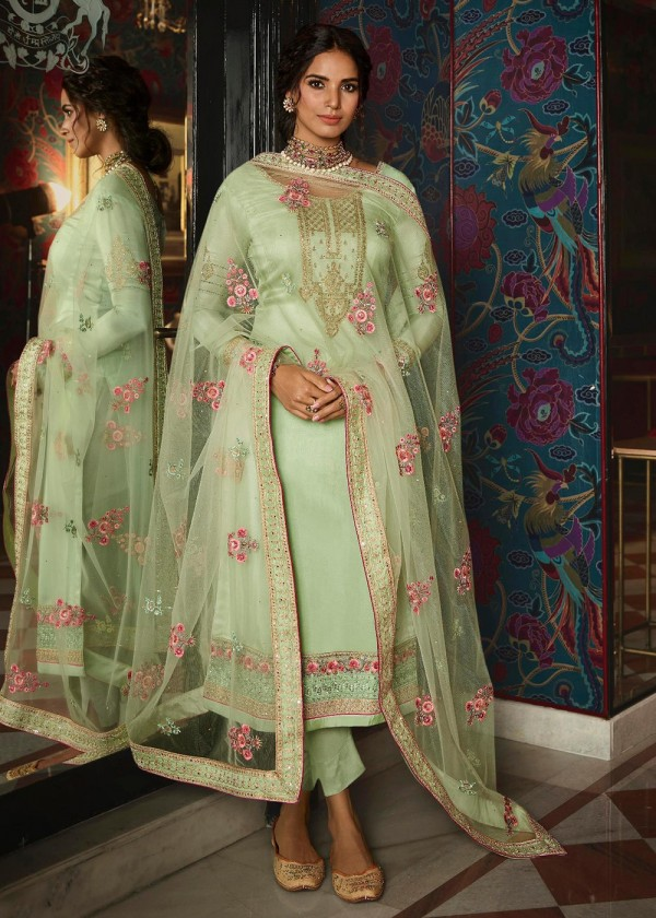 Buy Light Green Embroidered Pant Style Salwar Suits Online USA