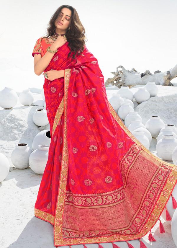 Pink Silk Traditional Designer Indian Sarees In USA