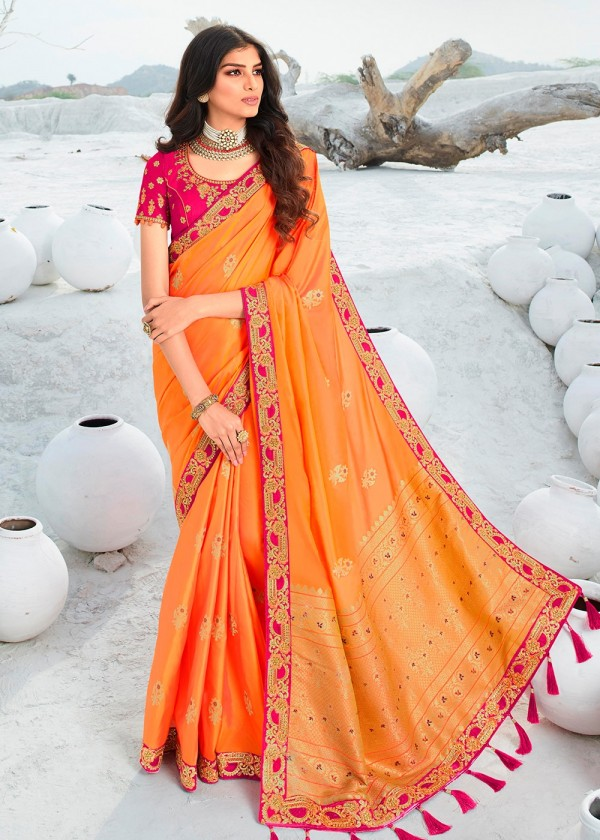 Buy Orange Silk Embroidered Indian Sarees In USA