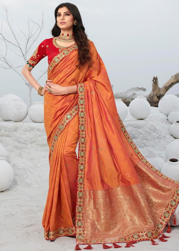Orange Silk Embroidered Indian Saree Online USA
