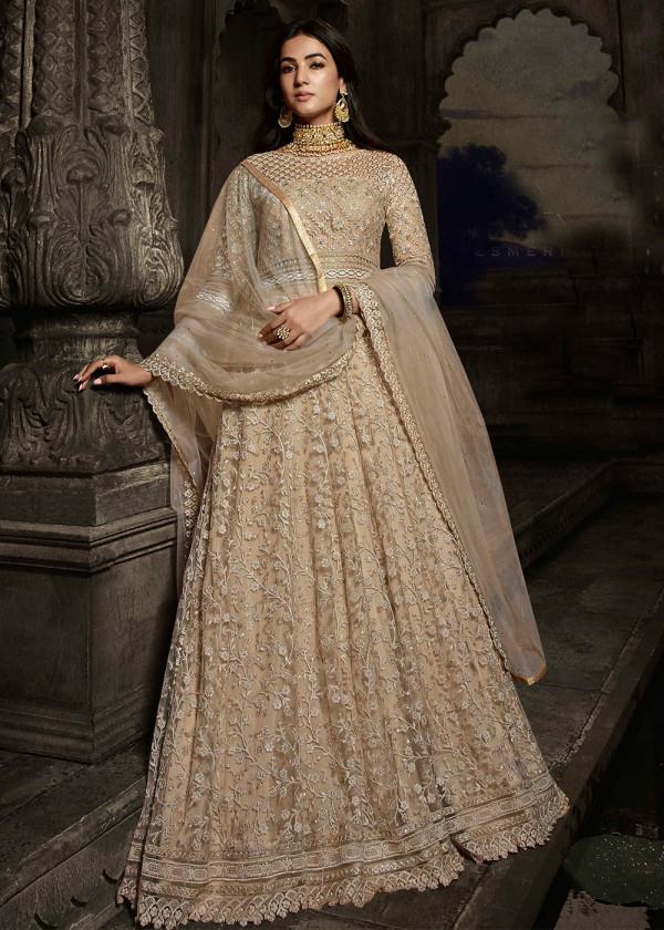 Shop Beige Net Embroidered Pakistani Salwar Suit Online USA