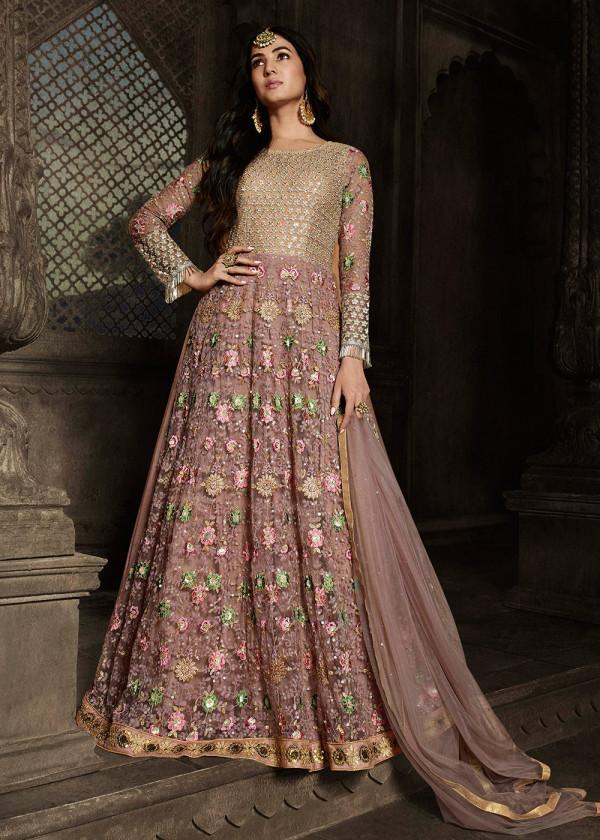 Buy Light Brown Net Embroidered Pakistani Salwar kameez