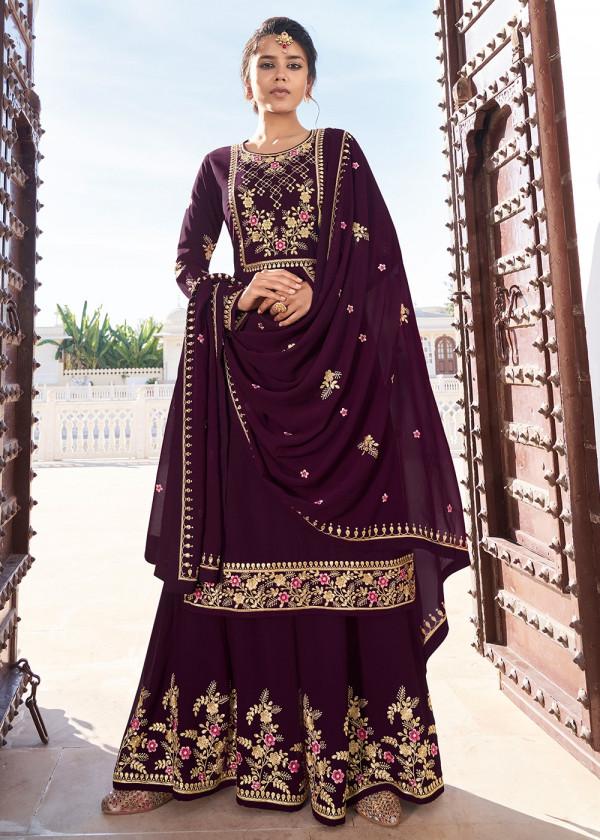 Buy Magenta Embroidered Pakistani Sharara Suit USA