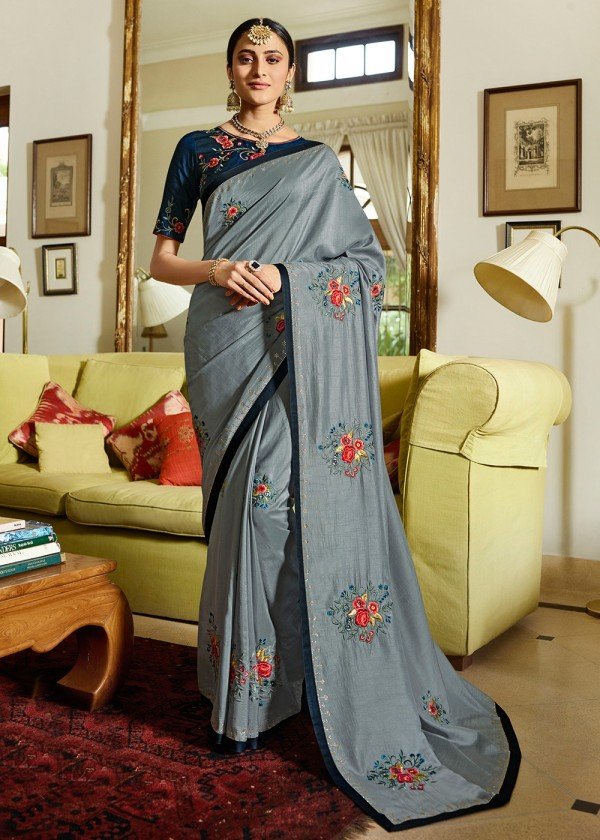 Grey Embroidered Art Silk Indian Sarees In USA