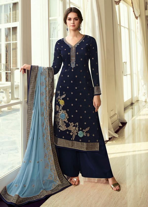 Navy Blue Art Silk Woven Pakistani Salwar Suit Online USA