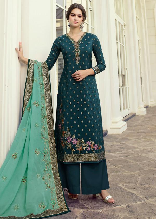Teal Blue Art Silk Woven Pakistani Palazzo Suit