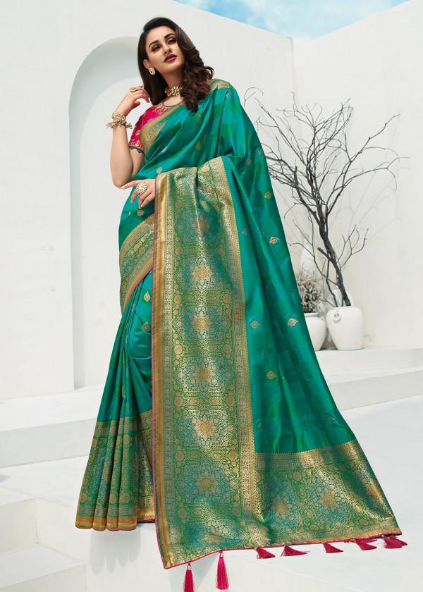 Buy Sarees Online - Green Banarasi Silk Indian Saree With Blouse