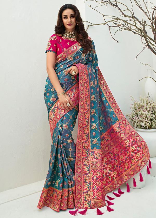 Buy Blue Banarasi Silk Indian Saree Online USA