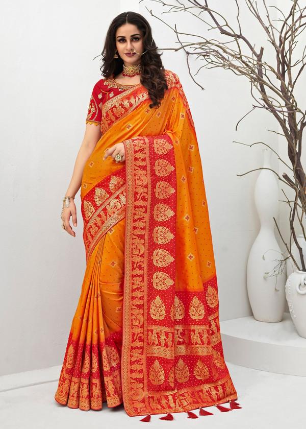 Yellow Banarasi Silk Indian Saree Online Shopping USA