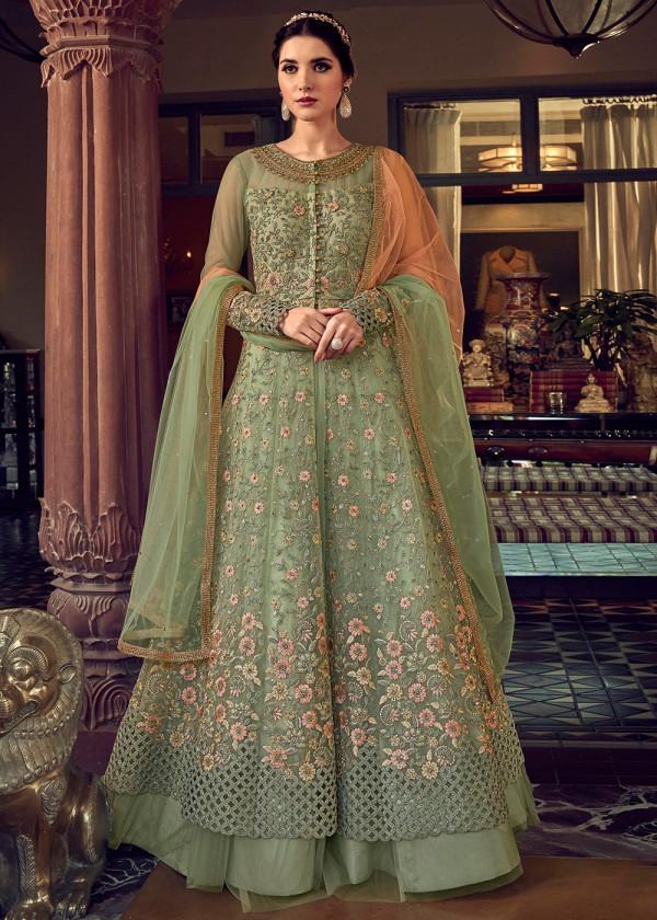 Buy Green Net Embroidered Anarkali Pakistani Salwar kameez Online USA