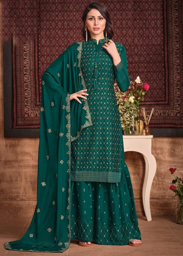 Green Embroidered Pakistani Salwar Kameez USA Online