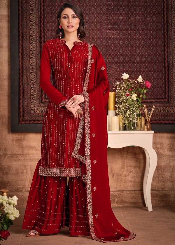 Red Embroidered Pakistani Sharara Suit Online USA