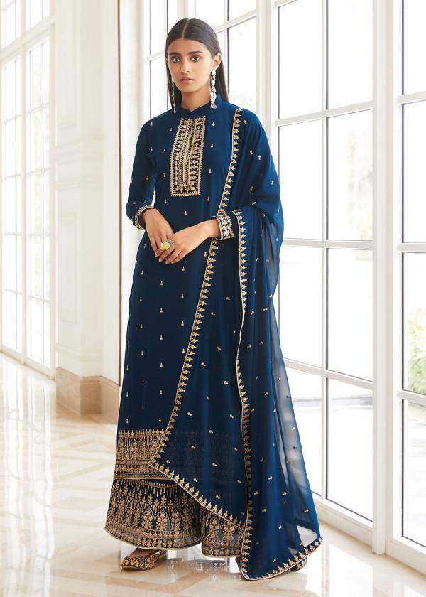 Buy Navy Blue Embroidered Pakistani Salwar Suit USA Online