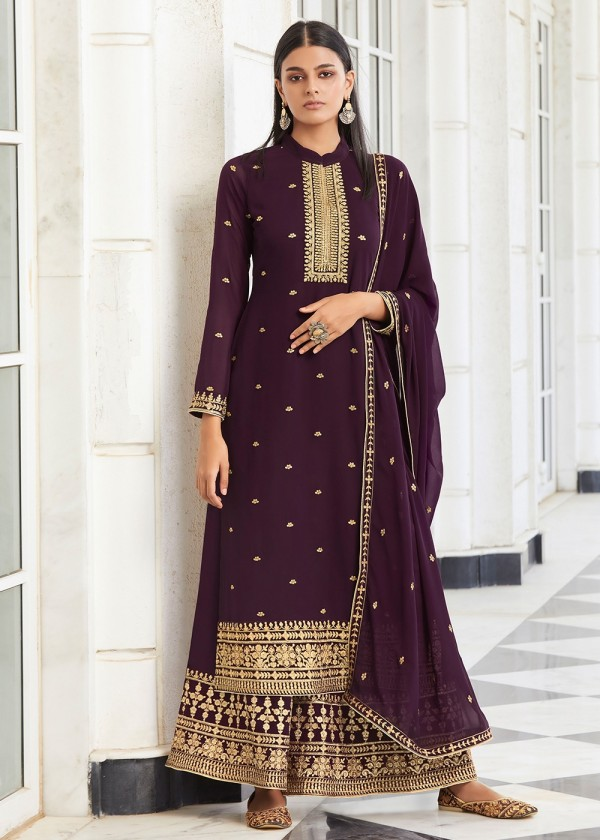 Purple Embroidered Palazzo Salwar Suit Online USA