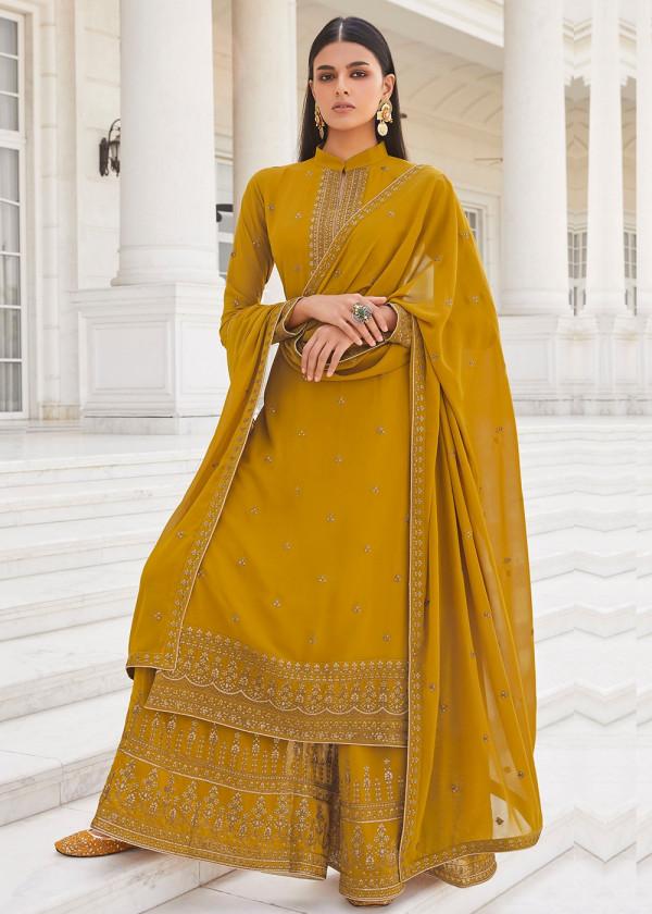 Yellow Embroidered Pakistani Palazzo Suit Online USA