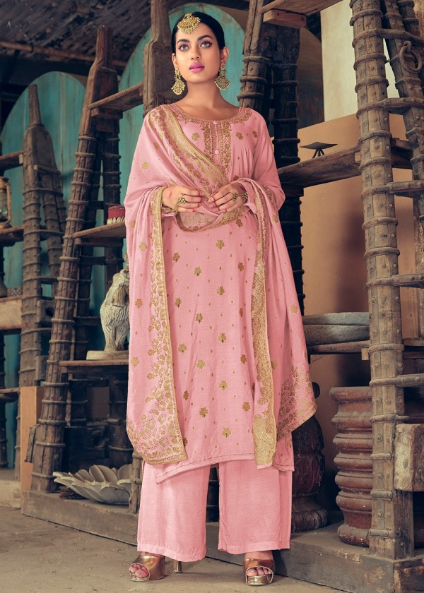 Pink Embroidered Woven Pakistani Palazzo Suit Online USA