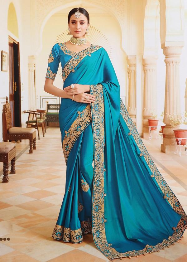 Sky Blue Art Silk Embroidered Bridal Heavy Stone Work Saree