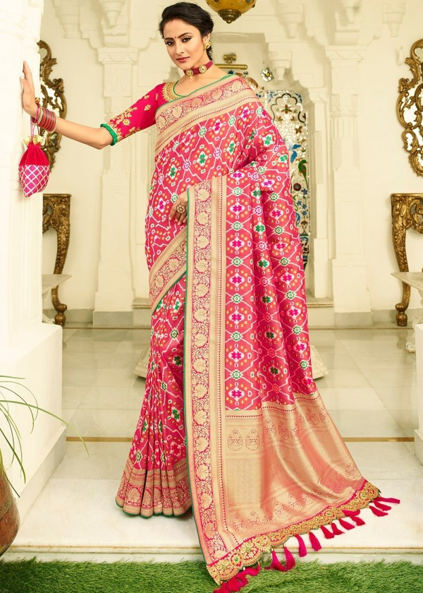 Pink Woven Heavy Blouse Banarasi Silk Indian Saree Online USA