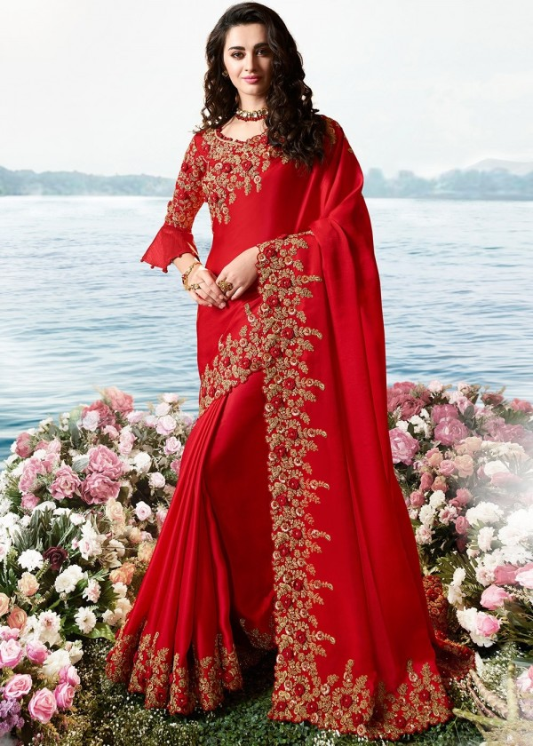Indian Paridhan USA - Red Bridal Saree With Bell Sleeved Blouse
