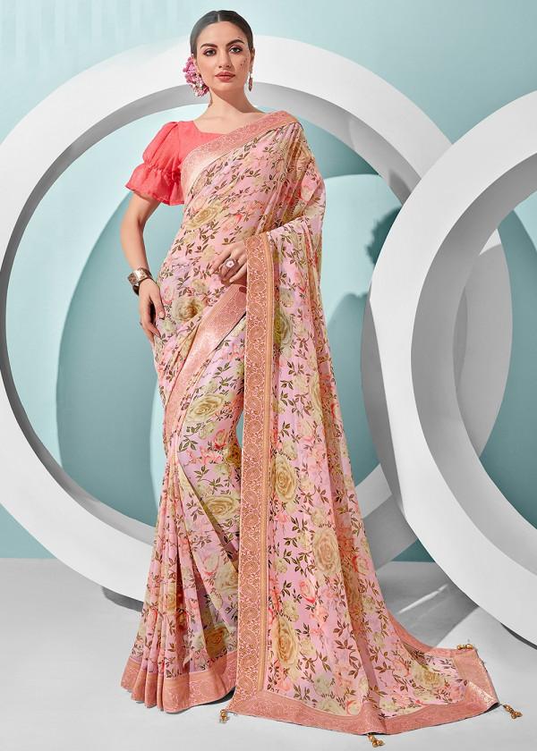 Pink Georgette Floral Print Saree Online USA