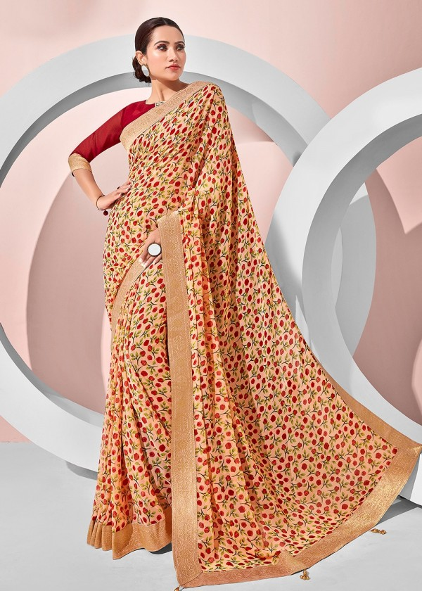 Peach Georgette Floral Printed Saree Online USA