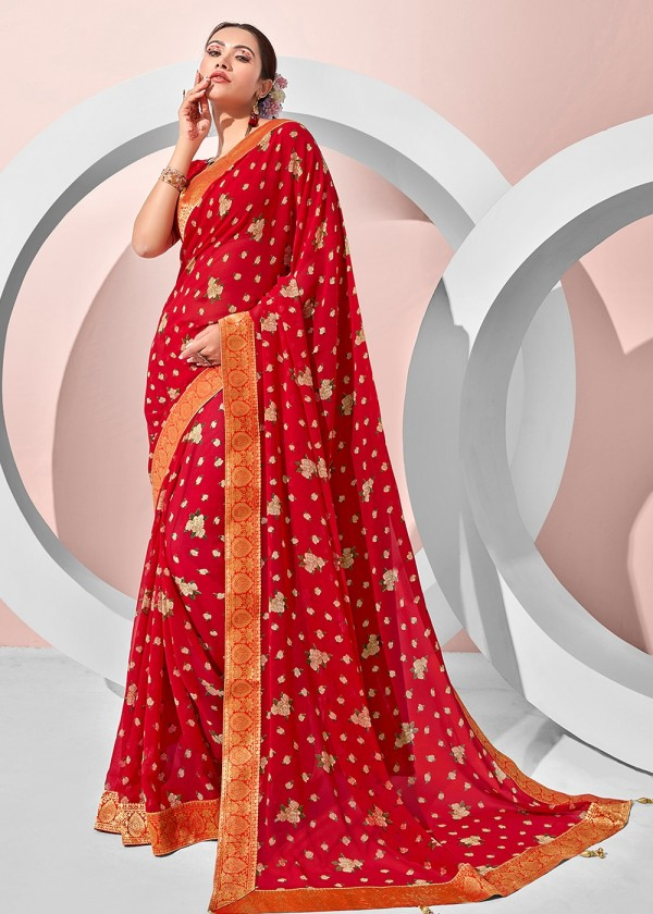 Red Georgette Floral Print Sarees USA Online