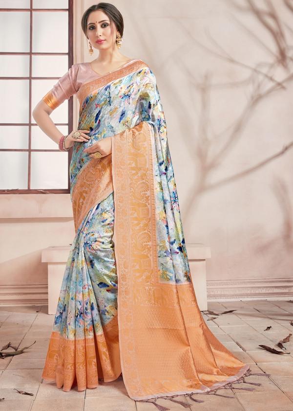 Buy Off white Banarasi Floral Print Saree USA