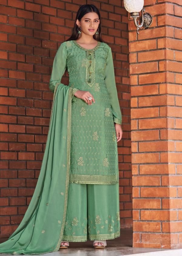 Shop Green Pakistani Palazzo Suit Online USA
